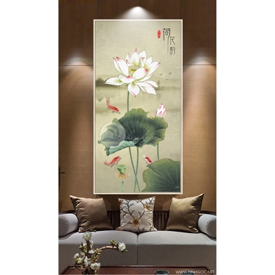Tranh cành hoa sen trắng QT-91