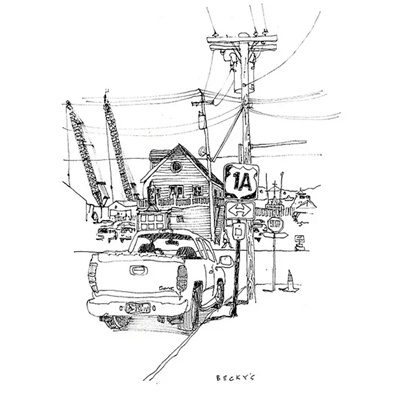 Tranh ký họa ngôi nhà ô tô và biển báo cột điện-QTQ-362