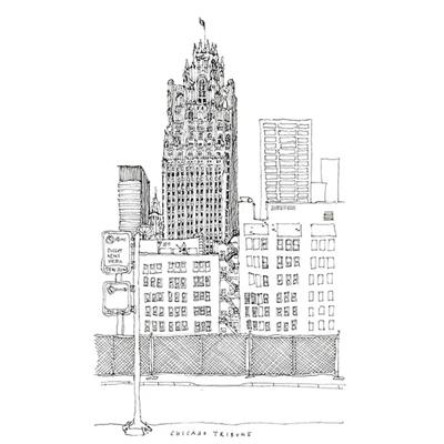 Tranh ký họa ngôi nhà cao tầng kiến trúc tòa tháp cổ-QTQ-373
