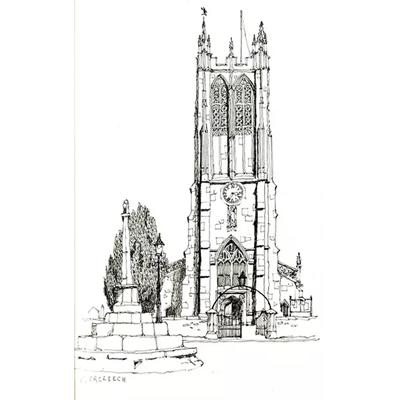 Tranh ký họa ngôi nhà cao tầng kiến trúc tòa tháp cổ-QTQ-374