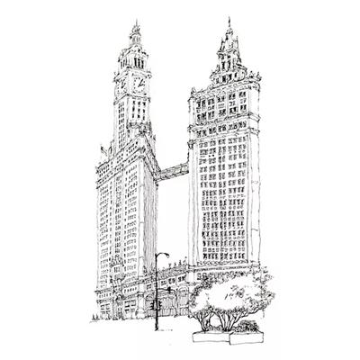 Tranh ký họa ngôi nhà cao tầng kiến trúc tòa tháp cổ-QTQ-375