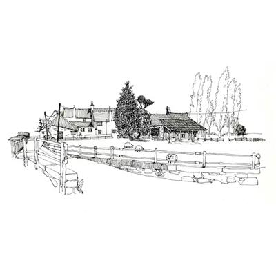 Tranh ký họa ngôi nhà đơn giản và cây xanh-QTQ-376