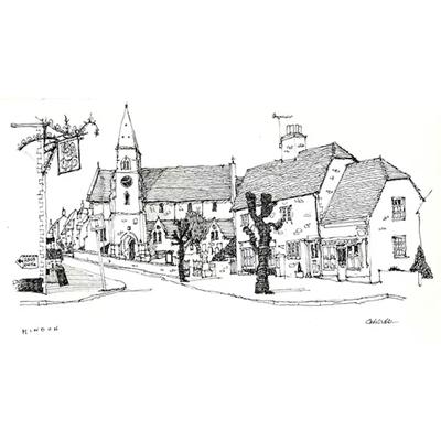 Tranh ký họa ngôi nhà cổ và đèn cao áp-QTQ-377