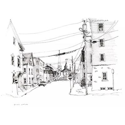 Tranh ký họa ngôi nhà mái hiên và dây điện-QTQ-379