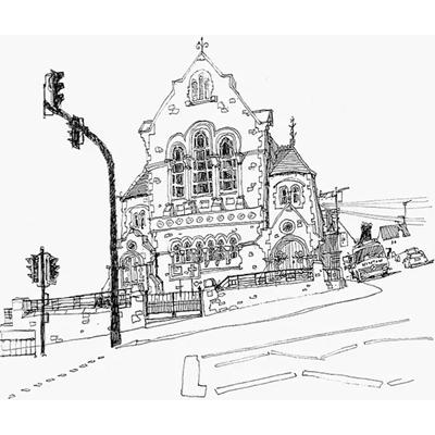 Tranh ký họa ngôi nhà tầng mái nhọn và đèn cao áp-QTQ-381