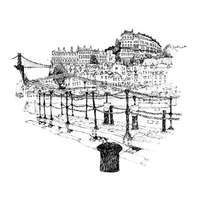 Tranh ký họa ngôi nhà đơn giản và rào thép gai-QTQ-386