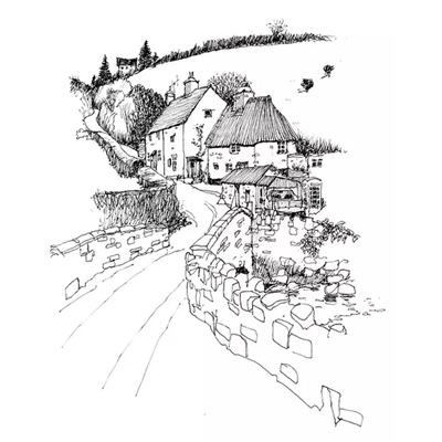 Tranh ký họa phong cảnh những ngôi nhà và con đường -QTQ-393