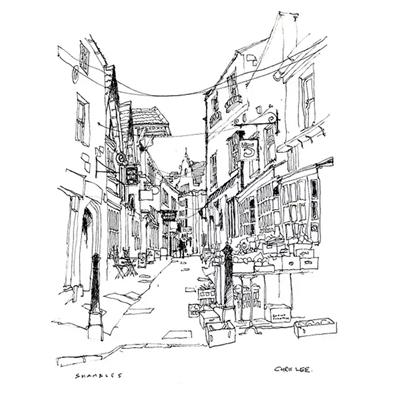 Tranh ký họa những ngôi nhà tầng trong thành phố -QTQ-394