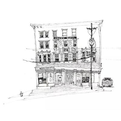 Tranh ký họa những ngôi nhà tầng và cột điện -QTQ-396