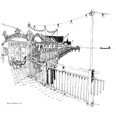 Tranh ký họa hàng rào thép bảo vệ ngôi nhà -QTQ-397