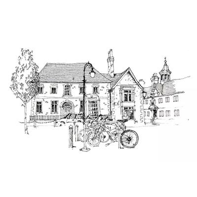 Tranh ký họa những ngôi nhà và xe đạp -QTQ-398