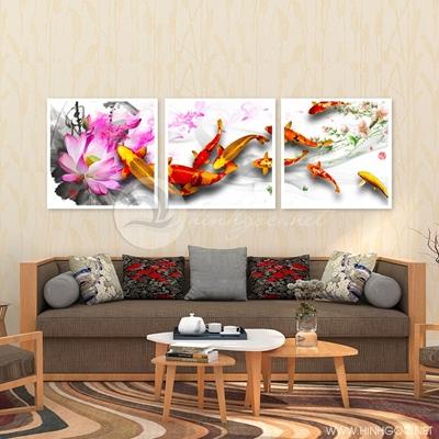 Tranh bộ cá koi và hoa sen - QYQ-135