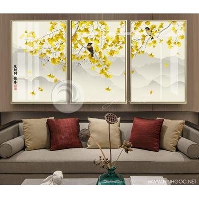 Tranh bộ cây lá vàng và đôi chim - QYQ-140
