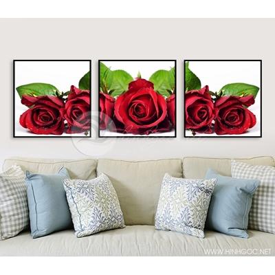 Tranh bộ hoa hồng đỏ QYQ-87