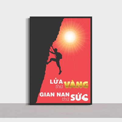 Tranh slogan hay, lửa thử vàng gian nan thử sức-SLG102
