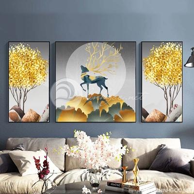 Tranh bộ 3 bức đôi hươu tuần lộc và lá cây sắc màu trừu tượng-SLH-128