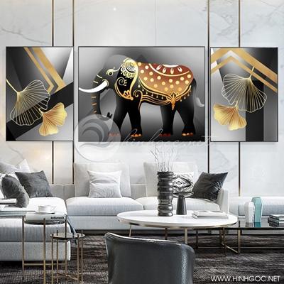 Tranh bộ 3 bức con voi và chiếc lá họa tiết-SLH-22
