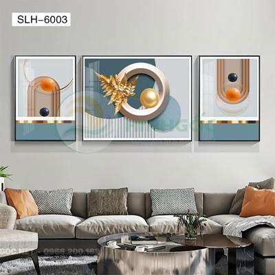 Tranh bộ 3 bức, tranh con ngựa và hình line art-SLH-6003