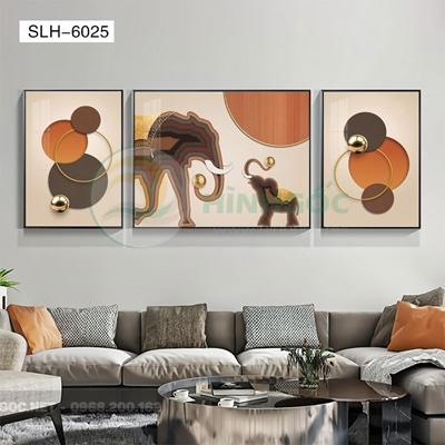 Tranh bộ 3 bức, tranh con voi và hình line art-SLH-6025
