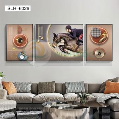 Tranh bộ 3 bức, tranh cô gái cưỡi ngựa-SLH-6026