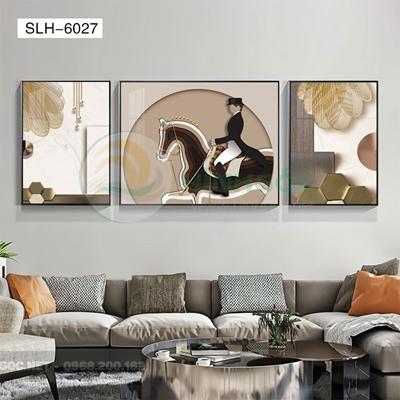 Tranh bộ 3 bức, tranh cô gái cưỡi ngựa-SLH-6027