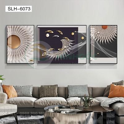 Tranh bộ 3 bức, tranh cá chép và hình họa tiết-SLH-6073