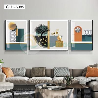 Tranh bộ 3 bức, tranh con hươu và hình line art-SLH-6085
