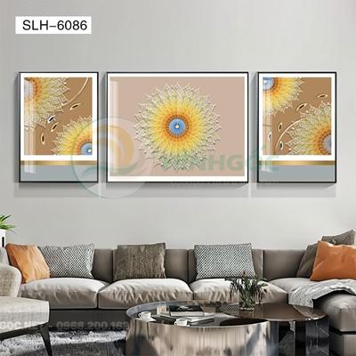 Tranh bộ 3 bức, tranh đàn cá chép và hình họa tiết-SLH-6086