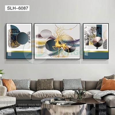 Tranh bộ 3 bức, tranh con hươu vàng và hình line art-SLH-6087