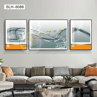 Tranh bộ 3 bức, tranh đàn cá chép và dải vân nghệ thuật-SLH-6088