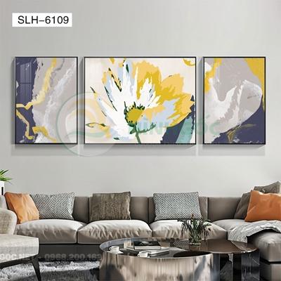Tranh bộ 3 bức, tranh bông hoa nở đẹp-SLH-6109