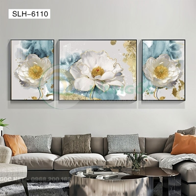 Tranh bộ 3 bức, tranh bông hoa nở đẹp-SLH-6110