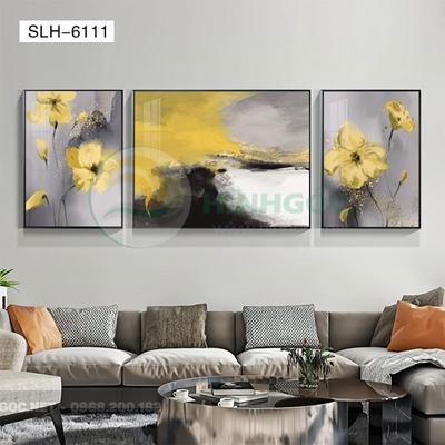 Tranh bộ 3 bức, tranh bông hoa nở đẹp-SLH-6111