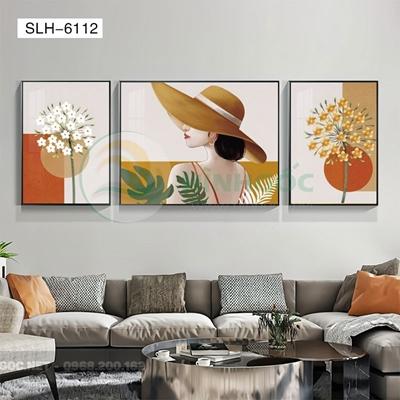 Tranh bộ 3 bức, tranh chân dung cô gái và hoa-SLH-6112