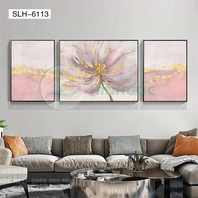 Tranh bộ 3 bức, tranh bông hoa nở đẹp-SLH-6113