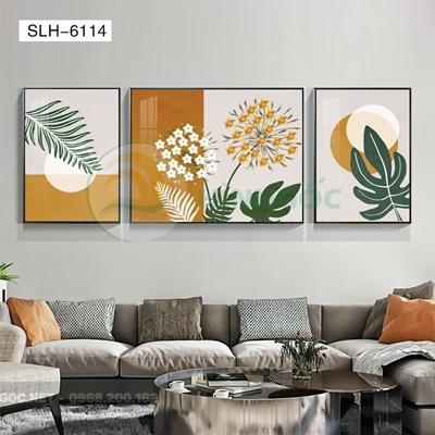 Tranh bộ 3 bức, tranh bông hoa nở đẹp-SLH-6114