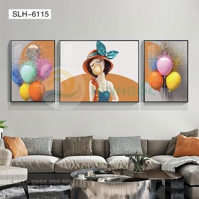 Tranh bộ 3 bức, tranh chân dung cô gái thổi bóng-SLH-6115