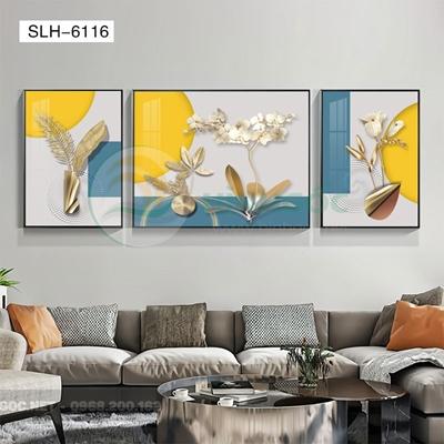 Tranh bộ 3 bức, tranh hoa lá-SLH-6116