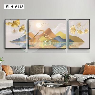 Tranh bộ 3 bức, tranh phong cảnh sơn thủy đôi hươu love-SLH-6118