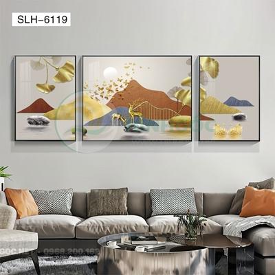 Tranh bộ 3 bức, tranh phong cảnh sơn thủy đôi hươu love-SLH-6119