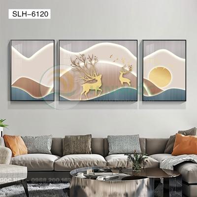 Tranh bộ 3 bức, tranh đôi hươu love-SLH-6120