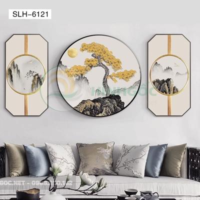 Tranh bộ 3 bức, tranh phong cảnh thủy mặc-SLH-6121