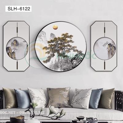 Tranh bộ 3 bức, tranh phong cảnh thủy mặc-SLH-6122