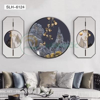 Tranh bộ 3 bức, tranh phong cảnh hươu và núi-SLH-6124