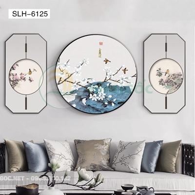 Tranh bộ 3 bức, tranh phong cảnh hoa và chim-SLH-6125