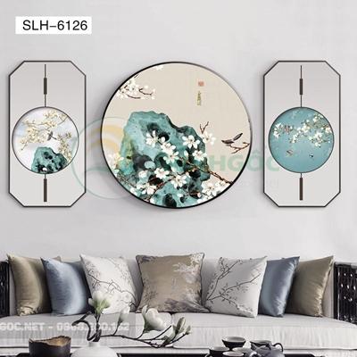 Tranh bộ 3 bức, tranh phong cảnh thủy mặc-SLH-6126