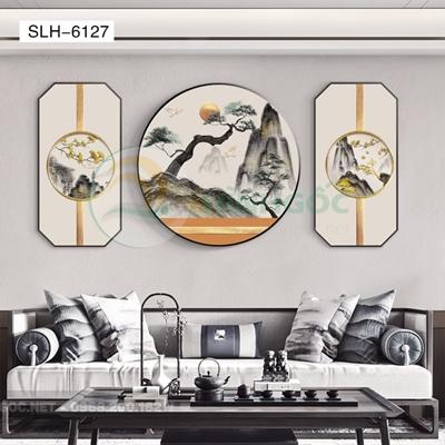 Tranh bộ 3 bức, tranh phong cảnh sơn thủy hươu và núi-SLH-6127
