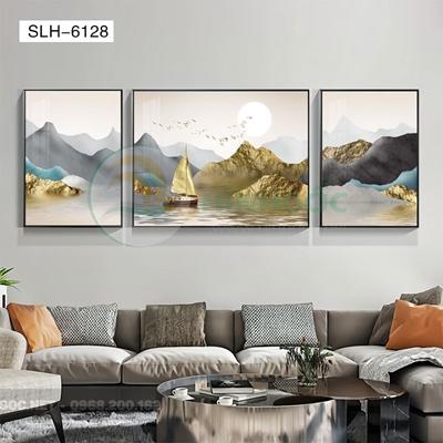 Tranh bộ 3 bức, tranh con hươu đứng trên đá cuội-SLH-6128