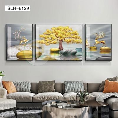 Tranh bộ 3 bức, tranh con hươu đứng trên dải vân-SLH-6129