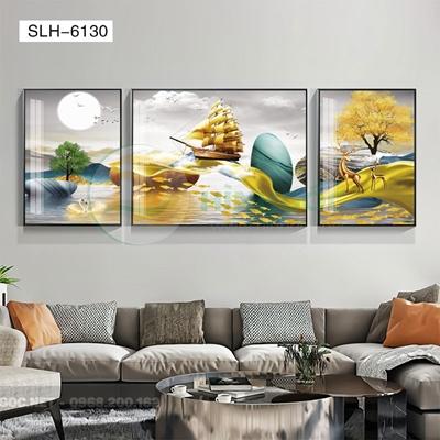 Tranh bộ 3 bức, tranh con hươu đứng trên dải vân-SLH-6130